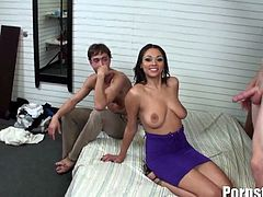Bethany Benz got involved into a really nasty threesome. She is sucking on a big dong into her mouth, while her snatch is getting banged hard like never before.