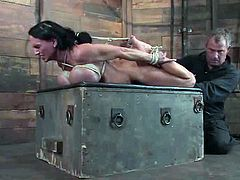 Well-endowed brunette milf Lisa Lipps allows some guy to tie her up in a basement and play with her astonishing tits. The man also drills Lisa's vag with a toy and makes her get an orgasm.