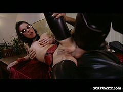 Rapacious brunette in glasses and latex clothes Vanessa May takes fat dick up her dirty asshole doggystyle. bitch rubs her clit while riding that shaft in reverse cowgirl pose.