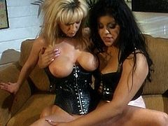 Horny ladies are having a naughty time together by deep masturbating their pussies