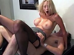 That perfect big boobed blonde hoe with big tattoo on her back love to receive cock while she lie on her office table, her boss knows how to bang her.
