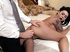 Johnny Sins uses his hard dick to bring Lustful breathtaker Eva Angelina to the height of pleasure