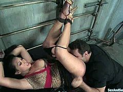 This is an insane BDSM session with a smoking hot siren Gianna Lynn! She gets naked and Steven ST. Croic will torture her Asian pussy!