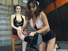 Charming brown-haired chick Nadia Styles is getting naughty with Princess Donna Dolore in BDSM clip. Nadia serves Donna like a slave and then allows her to fuck her snatch deep and hard with a strapon.