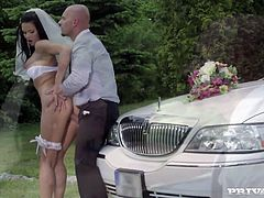 Insatiable raven haired babe Victoria Blaze looks divine in her wedding dress. Watch how that curvy bitch gets hammered doggystyle and rides big cock in reverse cowgirl pose.