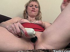 Fine looking blonde milf with small tits Josie pleasing her shaved pussy with toys