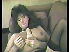 Get a load of this brunette's big natural tits as she masturbates with a dildo before being fucked by a horny guy in this amateur video.