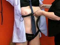 Chubby mistress squeezes her slave's swollen nipples