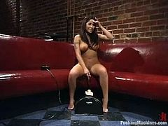 Brunette bombshell Jenaveve Jolie is playing dirty games indoors. She rubs her awesome pussy and then gets it pounded by a fucking machine.