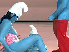 Curvy pornstar Charley Chase Sassette Smurf has dirty group sex with Papa Smurf and Brainy Smurf in this XXX parody. Busty brunette with thick ass gets her wet pussy drilled and gives mouth job at the same time.