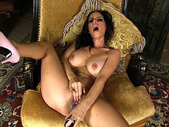 Busty raven strokes huge toy down her pussy in one naughty solo action
