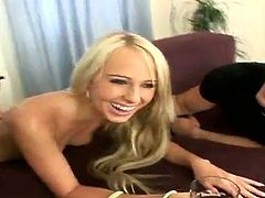 Hot and steaming double penetration with a beautiful blond angel Carla Cox. She gets naked and starts sucking these dude's cocks. Damn, honey is so fucking hungry!