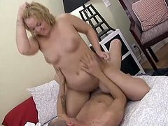 A kinky chubby blonde gives a passionate blowjob to some guy. Then she takes his prick into her snatch and they have sex in side-by-side and many other positions.
