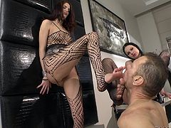 Abbie Cat and Lyen Parker know that Rocco loves to fuck girls in a rough manner. They love rough sex, so they have threesome sex with him with pleasure. These hotties get their pussies destroyed by Rocco's big dick.