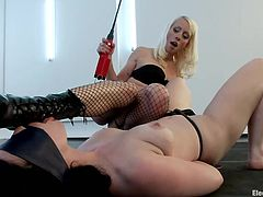 blonde electro mistress punishes her sex slave