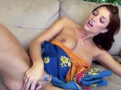 Gorgeous brown-haired chick Jayden Cole strips and demonstrates her awesome body for the cam. Then she pleases herself with fingering and pounds her nice vag with a dildo and beads.