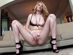 Allie James drops her panties and masturbates