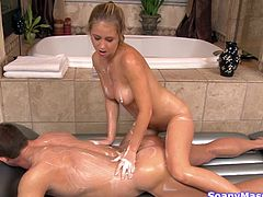 She's blonde and she's smoking hot! This chick gives her guy a very special bath, and after he gets out from the tub, she soaps him up good. After he's slippery the blonde slides on him and then they form a hot 69. He eats her delicious vagina while she sucks his hard cock like a bad girl. Curious what's next?