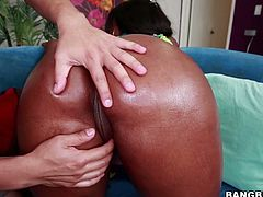 Delightful ebony babe has a terrific bubble butt. Chick twerks while one dude rubs her rump and then starts sucking that white prick.