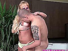 One of my all time shemale favortite gets fucked bareback before taking a nice load in her face and mouth