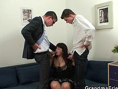 Marie just signed a very important contract and now, she wants to celebrate & champagne is poured! She wants something more than champagne, so these boys take out their cocks and fed her with them. The old broad sucks them lustfully and works it, for some semen in her mouth!