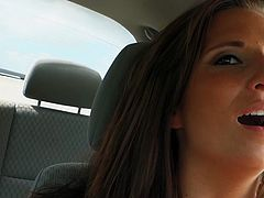 Luscious brunette babe Kylie Kane is amazingly seductive and hot girl. She takes off her clothes in a car exposing her beauty for cam. She has got appetizing natural tits and tight pink pussy. Kylie slides smooth dildo against her pussy folds.