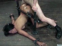 Maestro is back to torture some tasty chicks like Kapri Styles. She gets bondaged on the device, which bends her over and then Maestro sticks his cock in her wet cave!