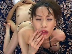 After having her hairy pussy nailed right, cute japanese enjoys warm load in her mouth