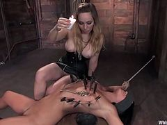 Horny brunette gets tied up and whipped by Aiden Starr. Later on she gets her pussy fingered deep. In addition she gets pounded with a strap-on.