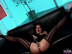 Harmony Vision porn site performs one another solo masturbating chick. She fucks her pinkish pussy with transparent dildo toy and rubs her clit intensively.