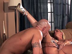 Staggering blonde bends over and receives long cock in during top hardcore porn