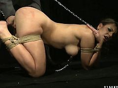 Brunette Norah Swan takes dudes cum loaded ram rod in her hot mouth