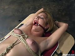 Tied up Jenni Lee gets her pussy drilled by a fucking machine