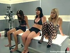 Kat, Keeani Lei and one more slut are having fun indoors. They play lesbian games and then play with fucking machines and pumps.