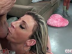 Rikki Six, Sara Jay and their hot blonde GF are trying to satisfy some tattooed stud. They suck his wang and lick his balls and moan passionately all the time.
