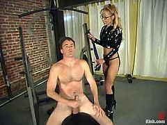 Kinky blonde milf Janay is having fun with Wild Bill. She makes the man lick her shoe and then beats his butt with a lash.