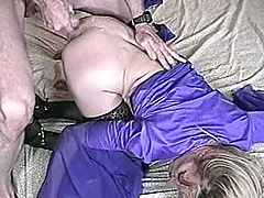 Blonde chick gets her tits licked and pussy fondled by old man. Then she sucks his old dick and gets fucked doggystyle.