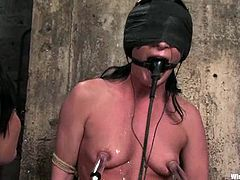 Stunning Sandra Romain gets blindfolded and tied up by her mistress. Later on Sandra lies down on the floor and gets her pussy destroyed with a strap-on.