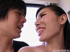 Damn, this is a hot Japanese babe! She raises cocks only with that pretty and slutty face, but when Sophia Takigawa undresses and reveals her goddesses body, cocks get rock solid near her. She allows the guy to play with her big perfect boobs and then, gives him a hot head. Don't miss this baby and stick around!