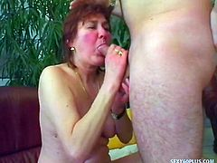 Some mature babes might not have the hottest bodies in the world compared to their younger equivalents, but they sure can fuck good!  This redhead is starting to sag in the breast and stomach areas, but she's still horny as hell for cock, with a