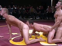 Two fags verses two gay dudes in the wrestling match
