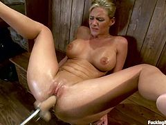 This kinky and desirable siren Phoenix Marie gets naked for that amazing device called a fucking machine. Moreover, this porn scene is so hot that she is all oiled up and slippery!