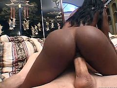fabulous ebony hussy with massive butt and big boobs takes fat white dick up her tight poon doggystyle. Black hoe rides that prick on top and goes anal in cowgirl pose.