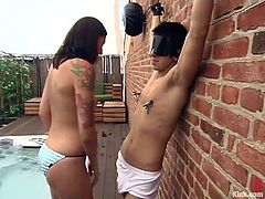 So here is this divine bitch Lexi Bardot and she is going to torture her slave Danny Wylde outdoors. Honey got some tools to make him hurt!