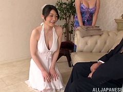 Check out the cute Asian girl with nice natural tits who is having fun in this hardcore threesome fuck session as they all get off.
