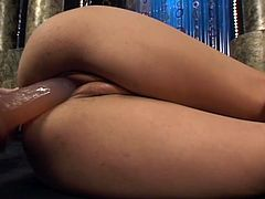 her favorite day job is dildo fucking. Delicious redhead babe with perfect natural tits loaded some toy into her shaved pussy in order to feel nice orgasm