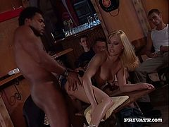 Mesmerizing black haired sexpot Vanessa Hill takes big dick up her snatch missionary style while the other brunette hussy gets her tight asshole fucked by BBC.
