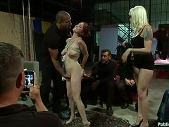 Redhead Penny is walked around and everybody touches, and smells her. Being treated like a sex slave, makes Penny really horny and blonde Lorelei brings her in the middle of all these horny men, and removes her ball gag. Yeah, the blonde knows how to give a show, just as Penny knows, how to suck cock