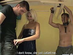 Karina found a few interesting pics of her bf with women. She just caught him cheating and not going to tolerate this! First, she seduces him and tricks the guy, until she ties his hands. After she did that, she tells him what she discovered and takes her revenge, by sucking another guy before his eyes.