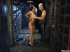 Marie Luv gets bound and tormented by Mark Davis in a basement. Mark plays with Marie's snatch, then beats the girls and drills her twat from behind.